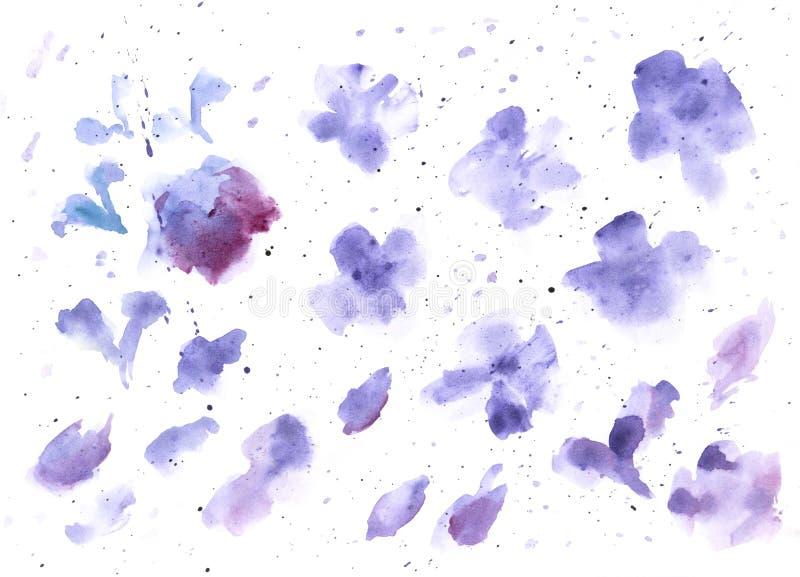 Акварель брызгает предпосылку текстуры Голубой руки вычерченный и пурпурный рисовать помарок иллюстрация штока