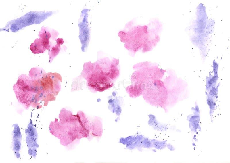 Акварель брызгает предпосылку текстуры Голубой руки вычерченный и пурпурный рисовать помарок иллюстрация вектора