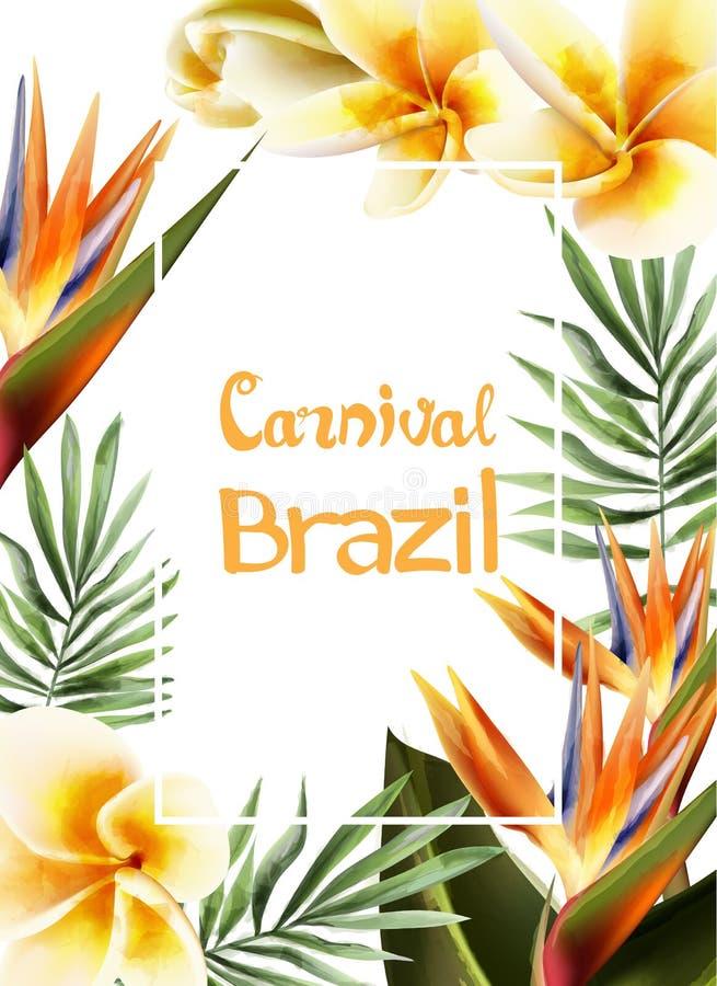 Акварель вектора рамки троповых желтых цветков экзотическая Шаблоны дизайна фестиваля масленицы Бразилии иллюстрация вектора