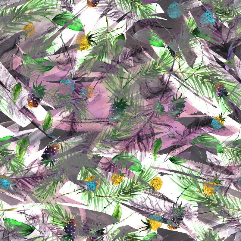 Акварель, винтажная, безшовная картина в ежевиках, полениках, ветвях сосны, ели, иглах Безшовная предпосылка акварели иллюстрация штока
