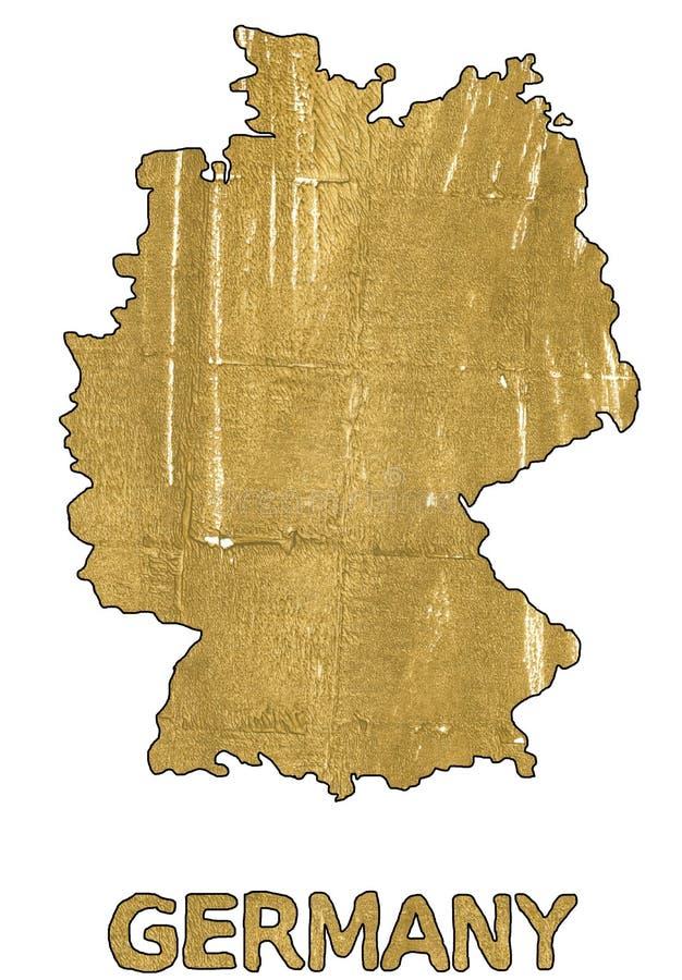 Акварель золота плана карты Германии ацтекская иллюстрация вектора