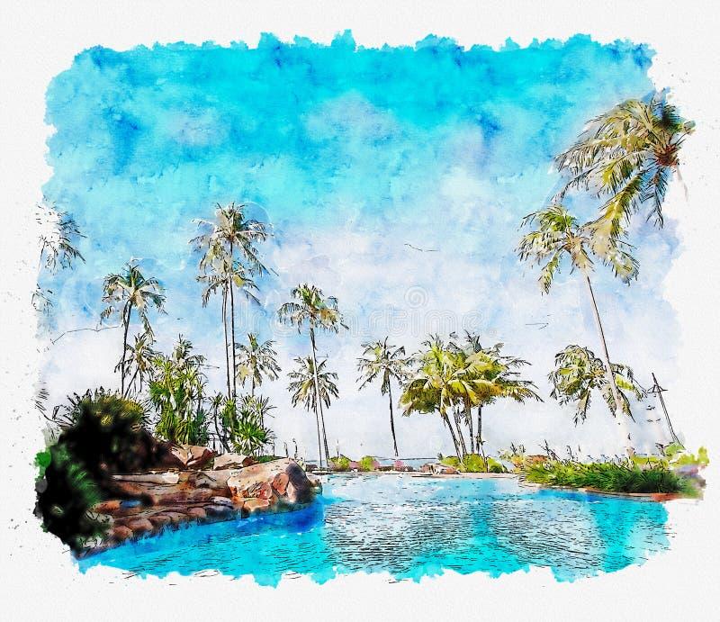 Акварель и иллюстрация тропического пляжного комплекса стоковое изображение