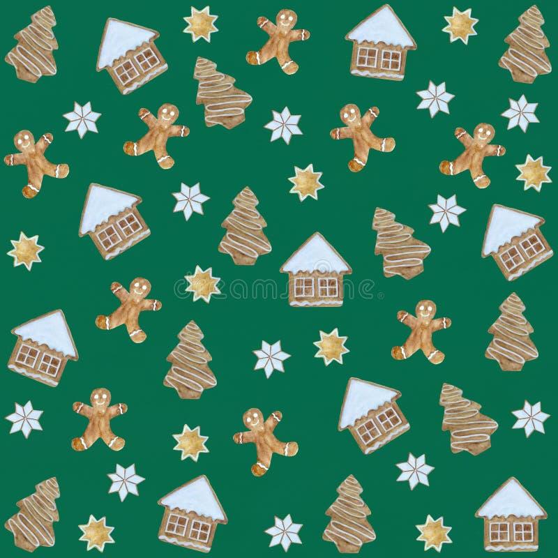 Акварель Нового Года пирожного печений рождества картины иллюстрация вектора