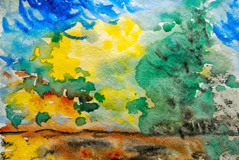 акварель парка ландшафта моста осени малая иллюстрация штока
