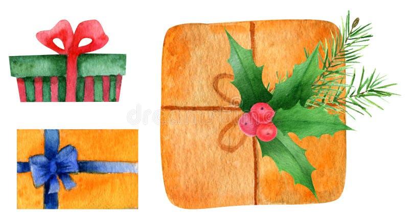 Акварель подарков стоковая фотография rf