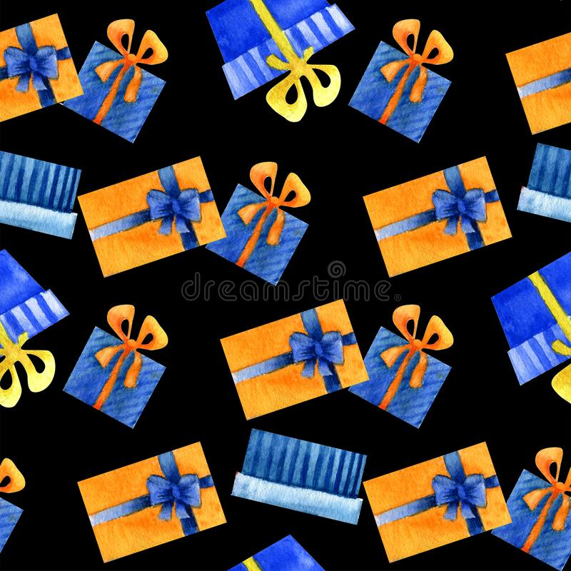 Акварель подарков, предпосылка праздника стоковые фотографии rf