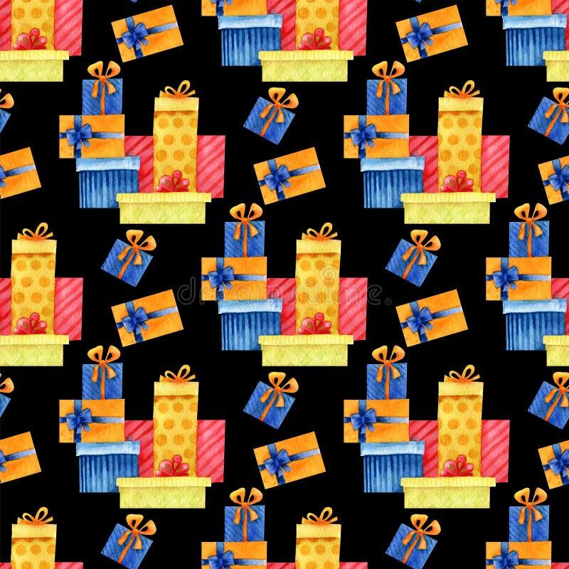 Акварель подарков, предпосылка праздника стоковые изображения rf