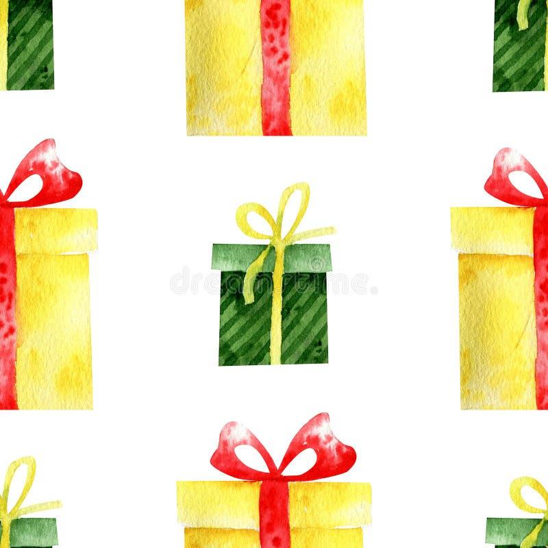 Акварель подарков, предпосылка праздника стоковая фотография rf