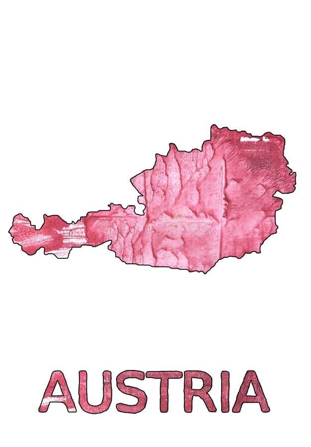 Акварель сатинировки циннамона плана карты Австрии бесплатная иллюстрация