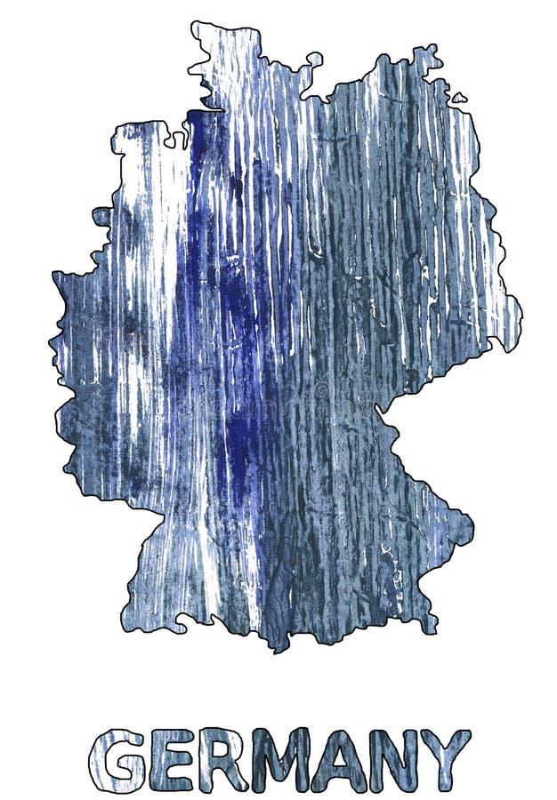 Акварель сини Weldon плана карты Германии бесплатная иллюстрация
