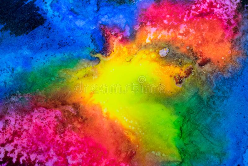 Акварель с splatter галактики радуги стоковое фото rf