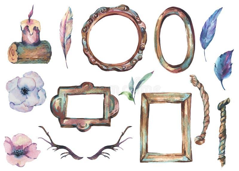 Акварель установила античной золотой деревянной рамки с цветками, рожка бесплатная иллюстрация