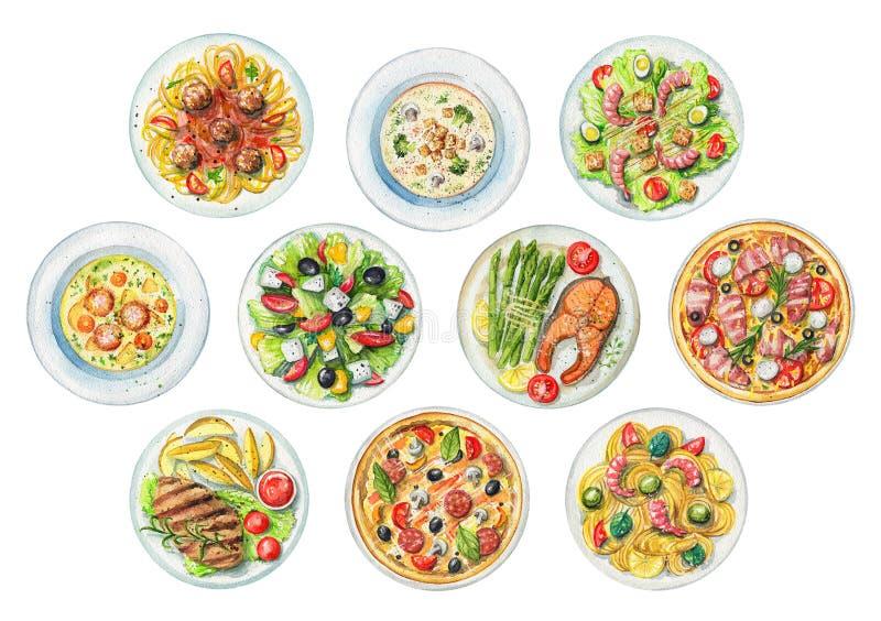 Акварель установила с плитами с 10 готовыми едами иллюстрация вектора