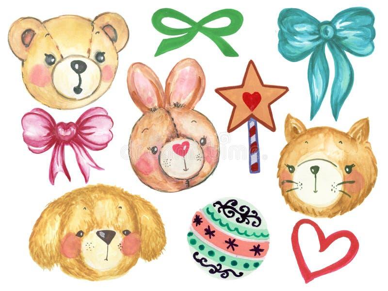 Акварель установила шарика милой куклы собаки куклы кота плюшевого мишки зайчика кролика акварели мультфильма и милой звезды паст иллюстрация штока