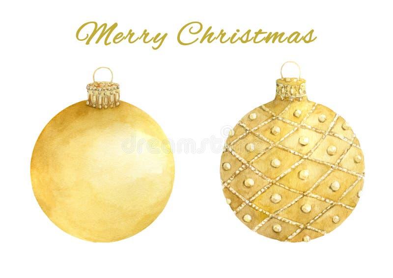 Акварель установила шариков золота рождества изолированных на белой предпосылке иллюстрация штока