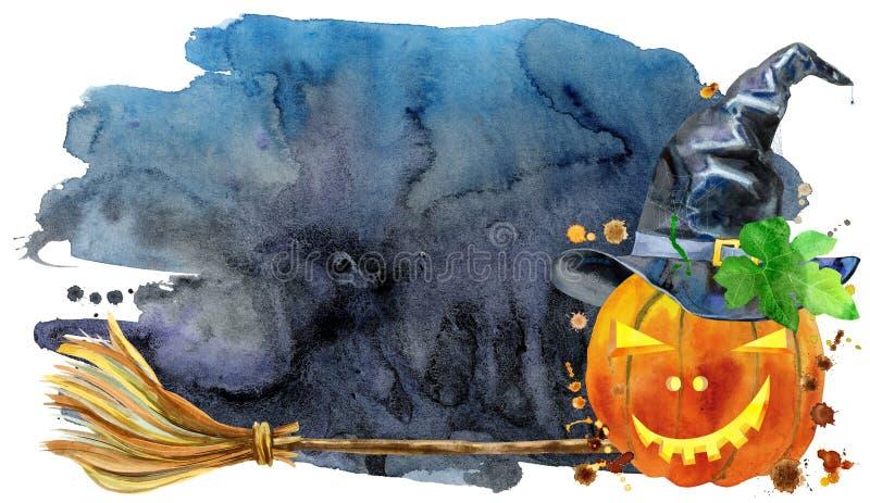 Акварель хеллоуин Нарисованные рукой иллюстрации праздника на черной предпосылке иллюстрация вектора