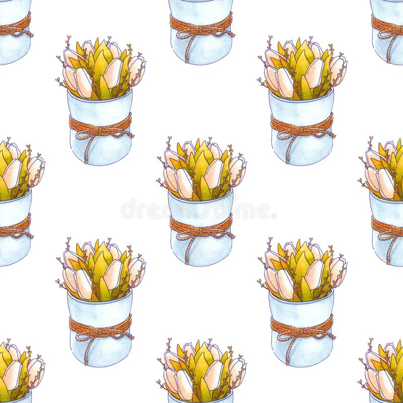 Акварель цветет безшовная картина Весеннее время иллюстрация штока