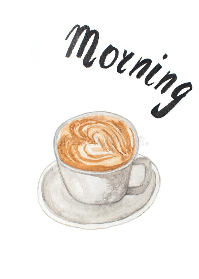 Акварель чертежа чашки кофе на белизне стоковое изображение rf