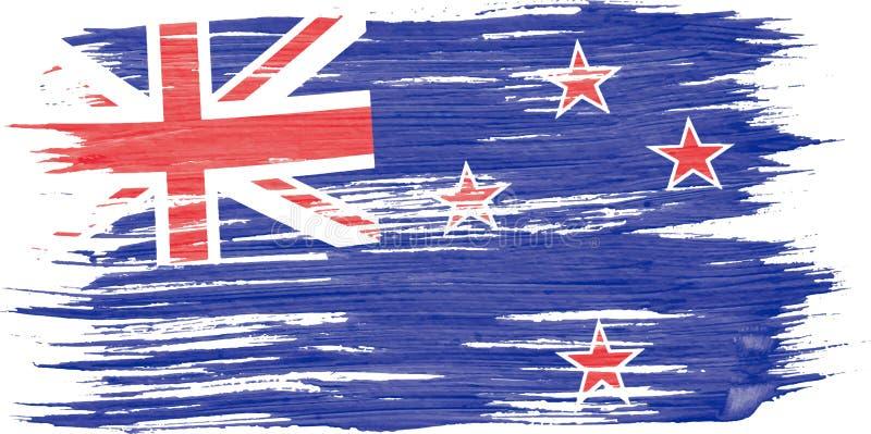Акварель щетки искусства крася флаг Новой Зеландии иллюстрация штока