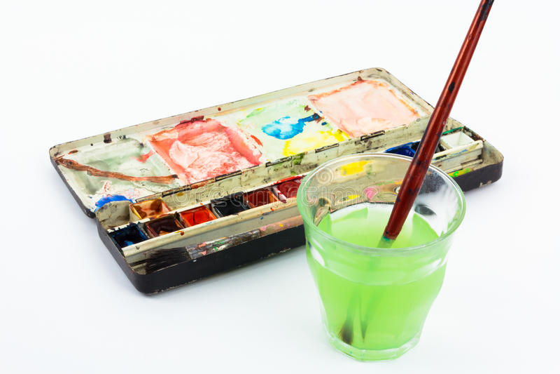 акварель щетки коробки стоковая фотография