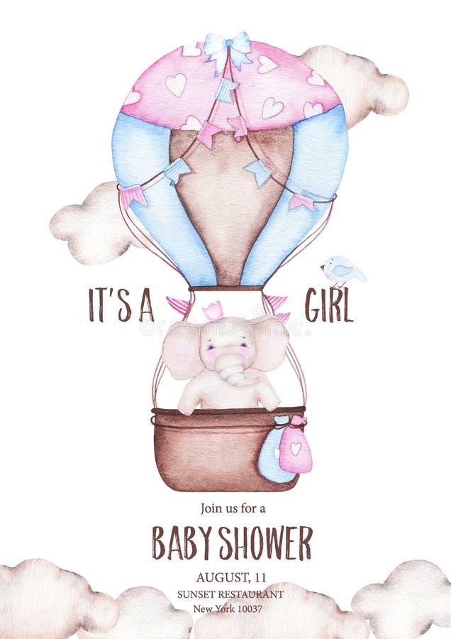 Акварель это детский душ девушки с милым горячим воздушным шаром со слоном иллюстрация вектора