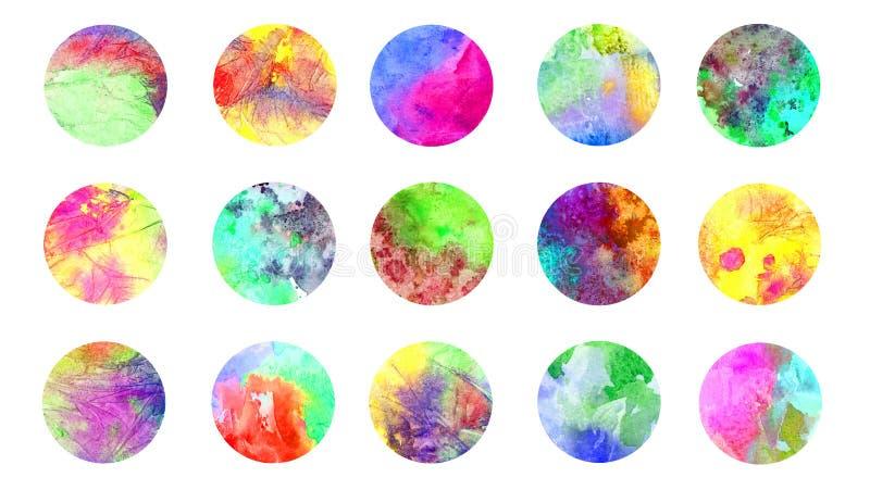 Акварель grunge кругов абстрактная полностью текстура цветов радуги мраморная брызгает собрание иллюстрация штока
