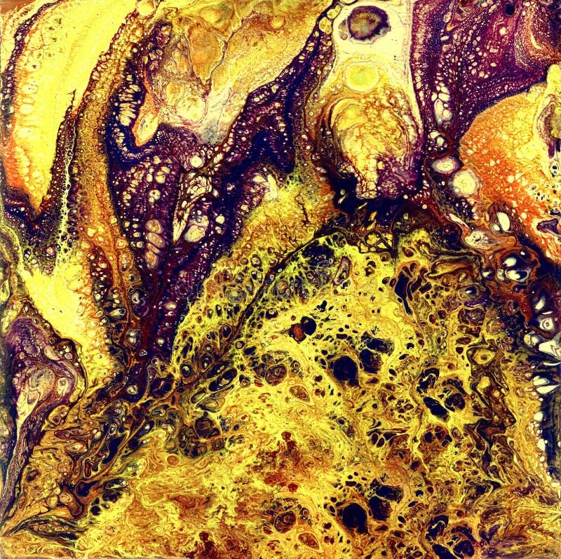 Акварель Liguid и картина золота чернил абстрактная Намочите задушенную иллюстрацию, абстрактную предпосылку и обои yellow стоковая фотография rf