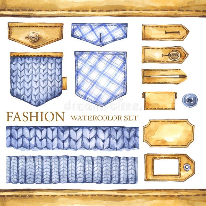 Акварель вязать, checkered граница ткани иллюстрация штока