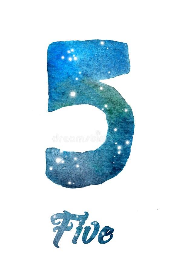 """Акварель галактики или ночное небо с звездами нумеруют  """"Five†иллюстрация вектора"""
