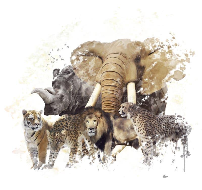 Акварель диких животных иллюстрация штока