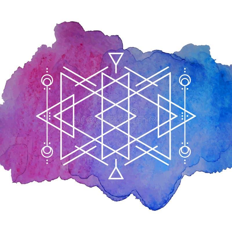 Акварель и предпосылка геометрии иллюстрация штока