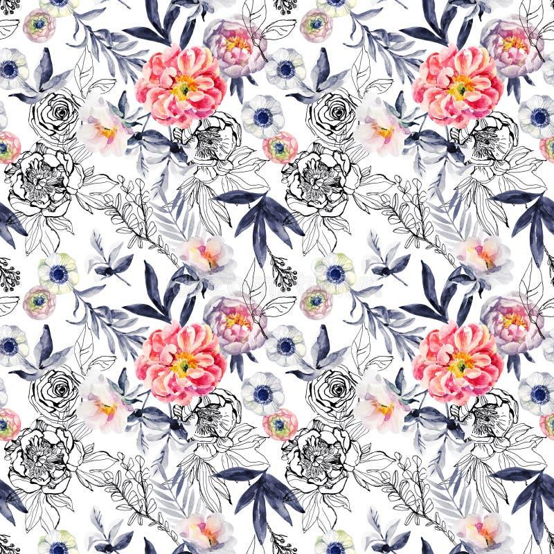 Акварель и чернила doodle цветки, листья, картина засорителей безшовная бесплатная иллюстрация
