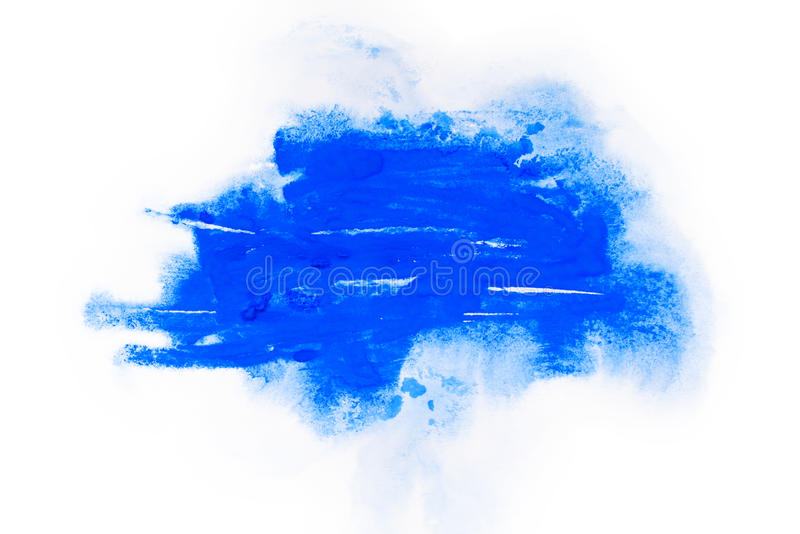 Акварель, краска гуаши Голубой абстрактный splatter пятен брызгает с грубой текстурой стоковая фотография rf