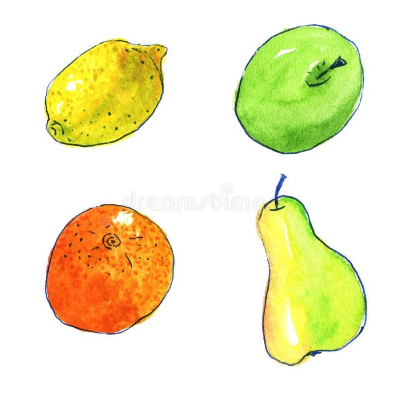 Акварель нарисованная рукой приносить стиль шаржа на белой предпосылке: апельсин, лимон, яблоко, груша Illust картины здоровой ед иллюстрация штока