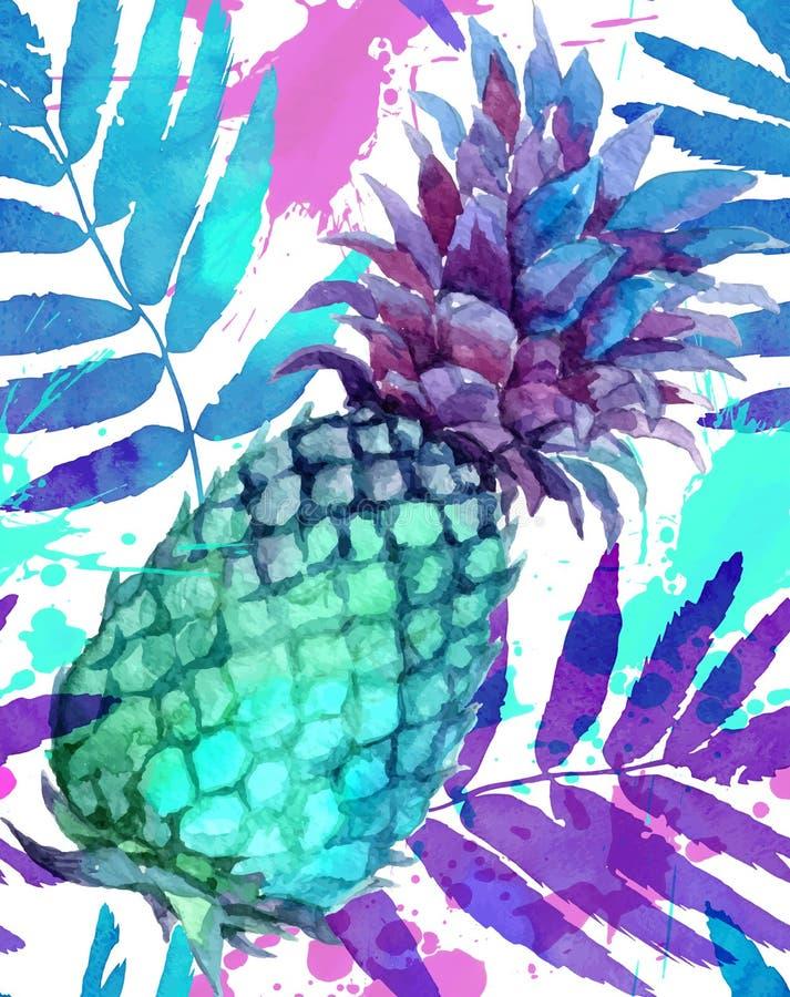 Акварель покрасила яркую картину ананасов и листьев цветов безшовную иллюстрация вектора
