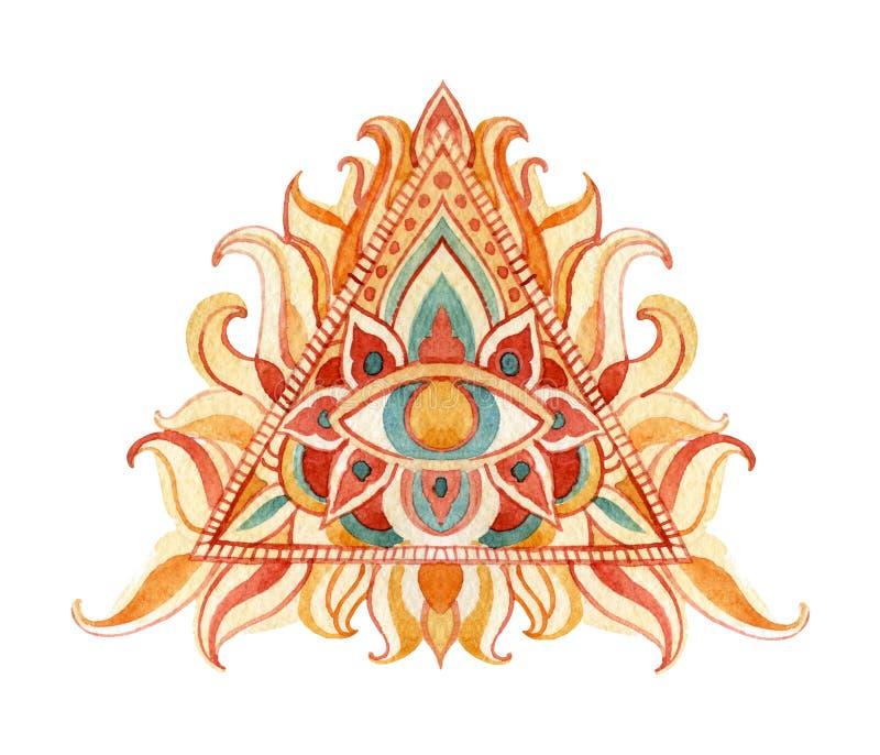 Акварель полностью видя символ глаза в пирамиде иллюстрация вектора