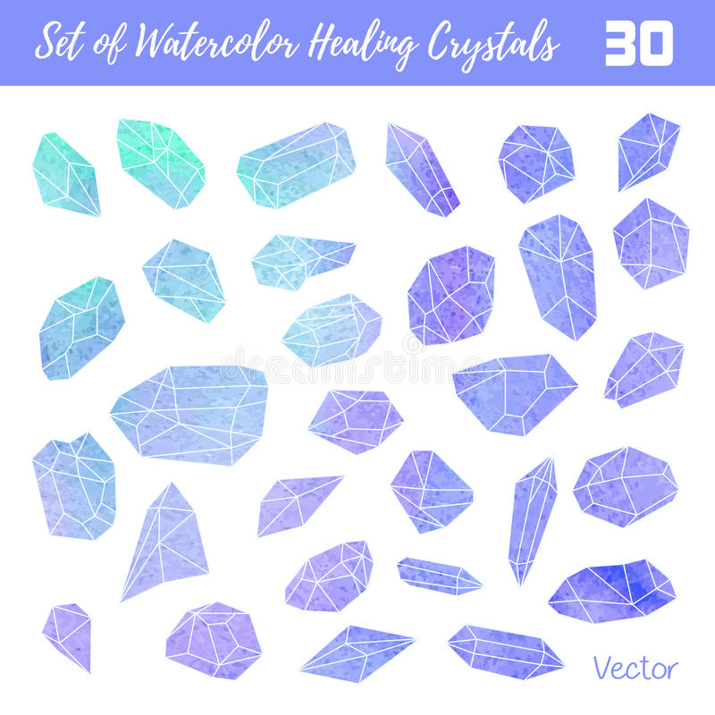 Акварель, драгоценные камни вектора, заживление кристаллы стоковые фотографии rf