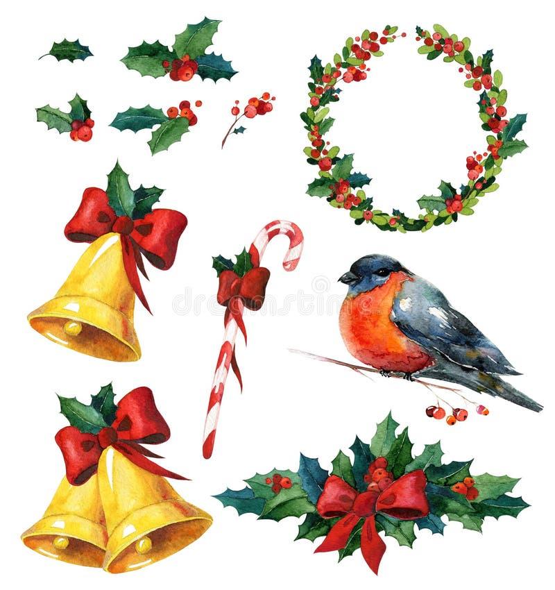 Акварель рождества установила с падубом, красным bullfinch птицы зимы, венком, золотыми колоколами и тросточкой конфеты стоковое фото