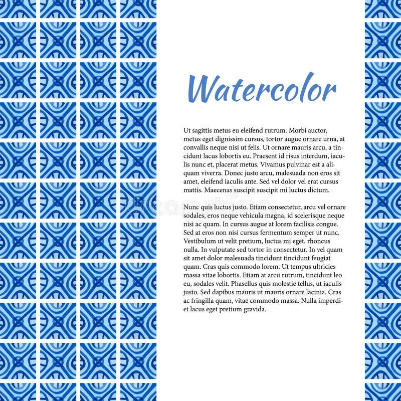 акварель текстуры абстрактной предпосылки голубая покрашенная бумажная Абстрактная рамка в керамическом стиле Шаблон с местом для иллюстрация штока