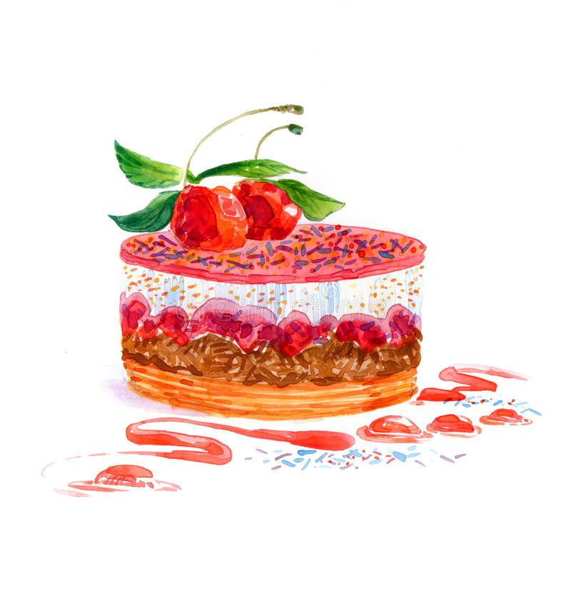 Акварель торта десерта округлой формы торта стоковое изображение