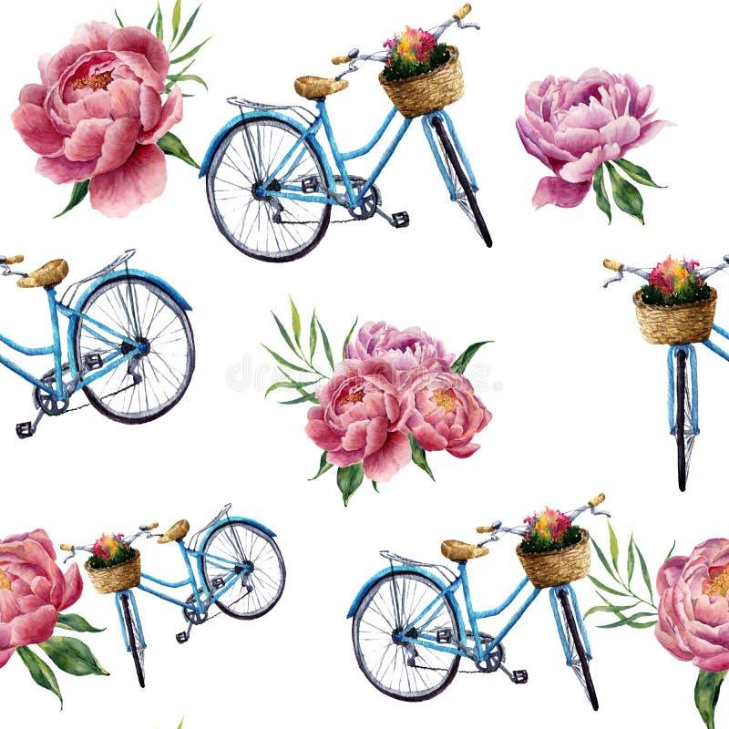 Акварель флористическая и картина велосипеда безшовная на белой предпосылке Иллюстрация для дизайна, ткани, печати и предпосылки иллюстрация штока
