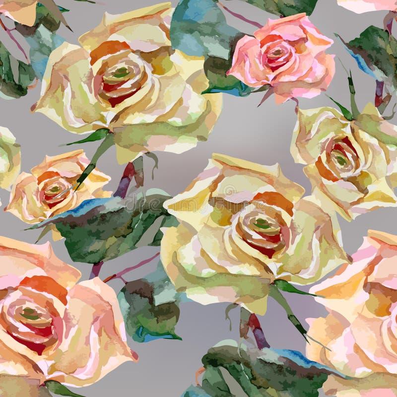 Акварель художественного произведения цветет розы иллюстрация вектора