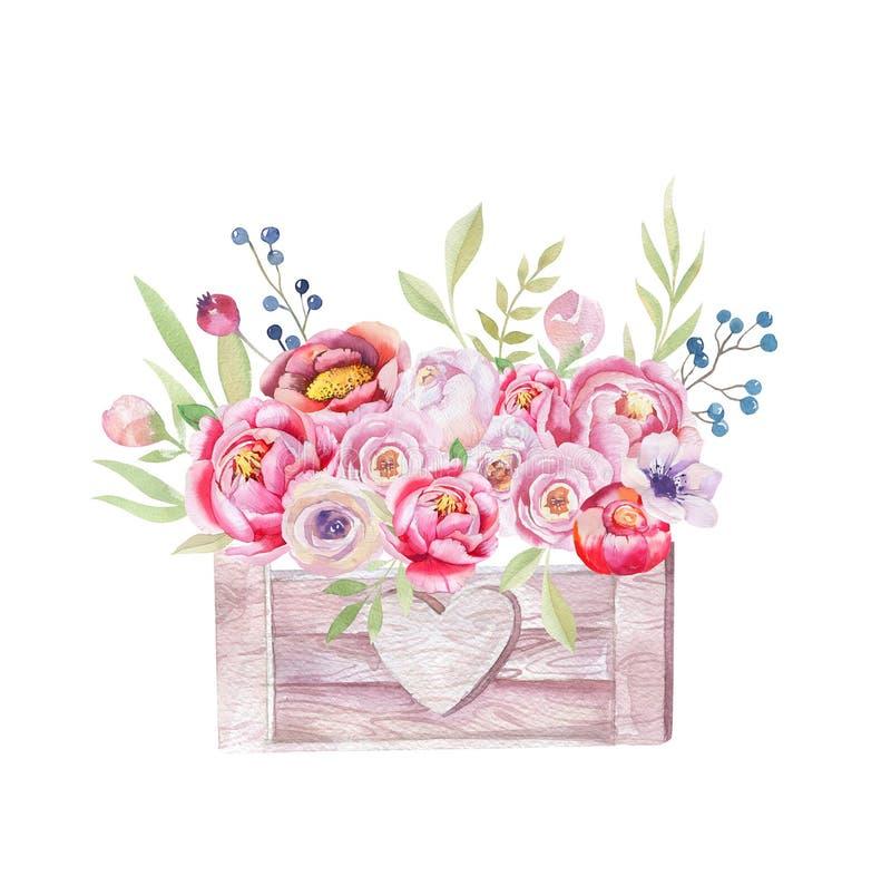 Акварель цветет деревянная коробка Нарисованный вручную шикарный винтажный сад ru бесплатная иллюстрация