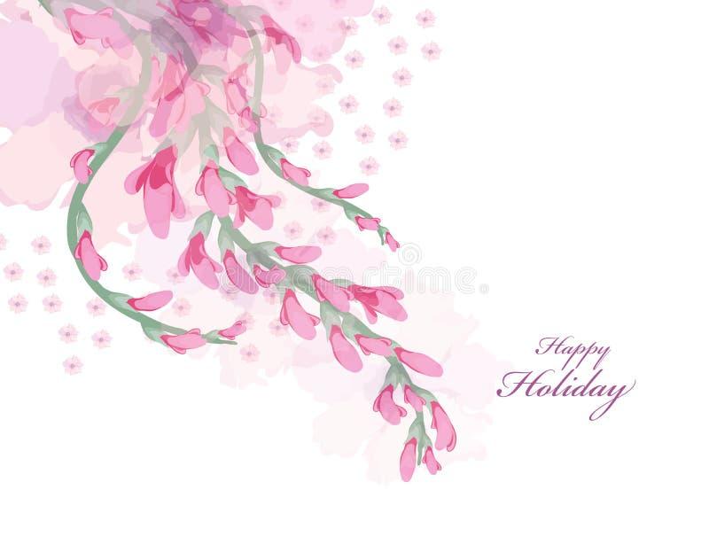 Акварель цветет розовая карточка глицинии иллюстрация штока