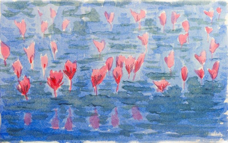 Акварель цветка лотоса иллюстрация вектора