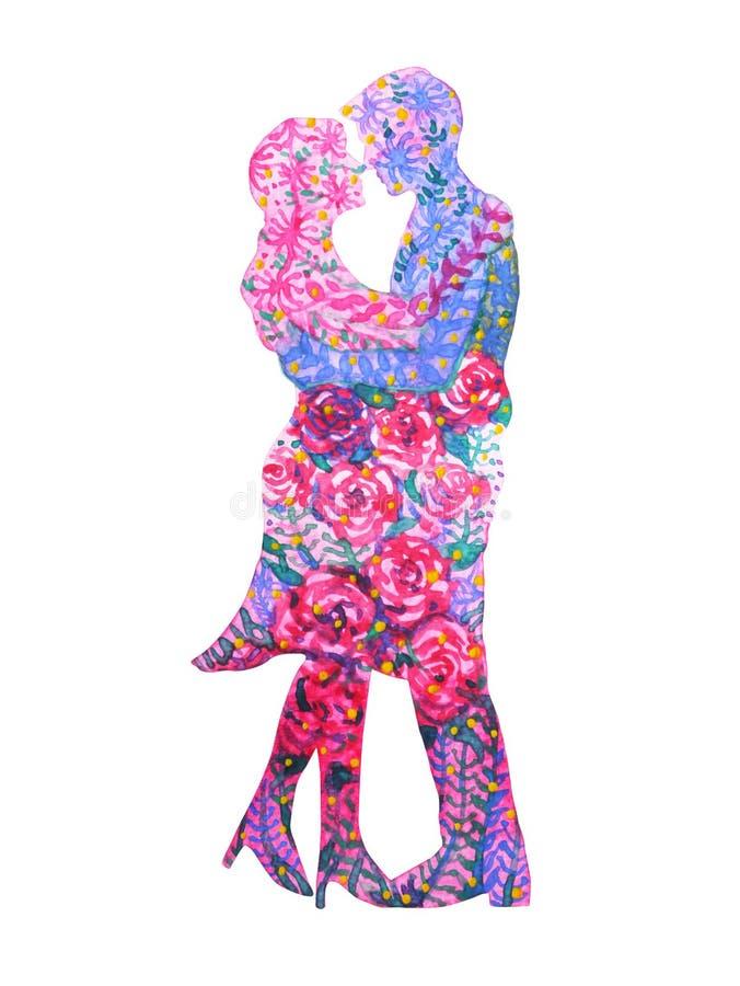 Акварель любовников пар крася романтичный флористический цветок подняла бесплатная иллюстрация