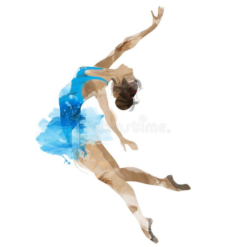 Акварель яркого изображения гимнаста акварели красивая бесплатная иллюстрация