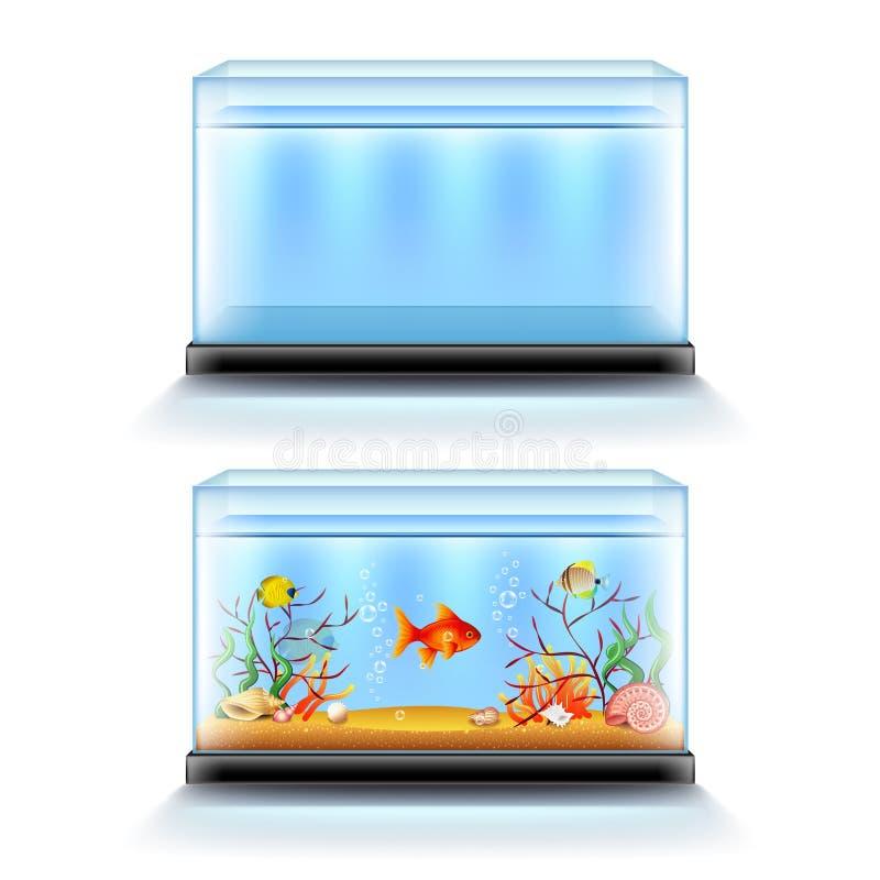 Аквариум с рыбами и пробел на белом векторе иллюстрация штока
