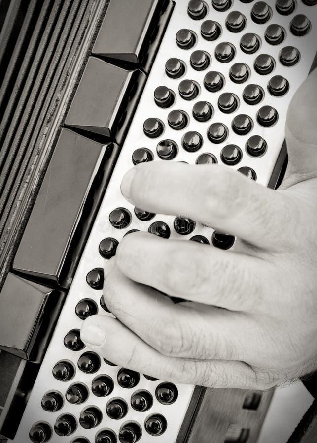 аккордеоня вручает человека играя s стоковое фото rf