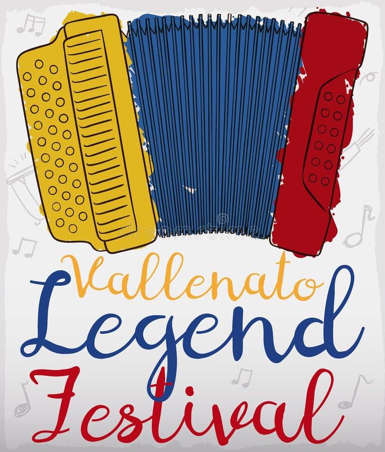 Аккордеон с колумбийскими цветами в Brushstroke для фестиваля сказания Vallenato, иллюстрации вектора иллюстрация штока
